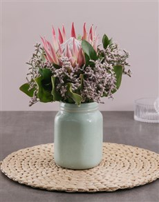 gifts: King Protea in Mint Jar!