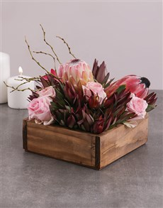 flowers: Mixed Proteas and Roses in Crate!