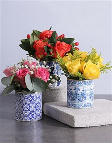 gifts: Mixed Roses in Delft Tins!