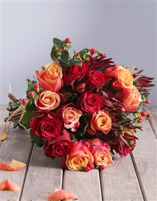 flowers: Cherry Brandy and Red Roses with Safari Bouquet!