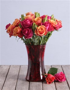 flowers: Cherry Brandy and Cerise Roses in a Vase!