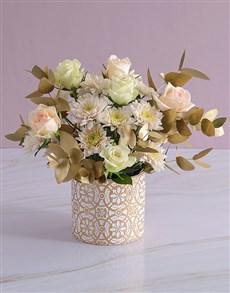 flowers: Subtle Peach and White Rose Arrangement!