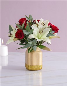 flowers: Roses and Lilies in a Gold Consol Jar!