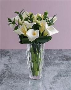 flowers: White Lilies in Crystal Vase!