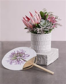 flowers: Proteas and Roses in Ceramic with a Printed Fan!
