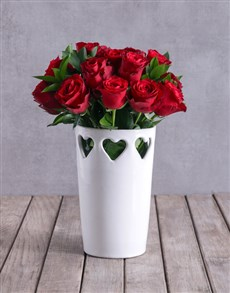 gifts: Red Roses In Ceramic Cut Out Hearts Vase!