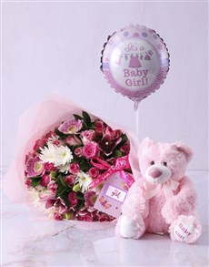 gifts: Baby Girl Teddy Bouquet!