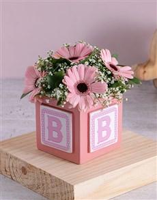 flowers: Baby Girl Building Block Arrangement!