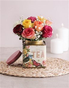 gifts: Mixed Roses in Printed Tea Tin!