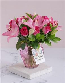 flowers: Cerise Florals In A Soft Pink Vase!