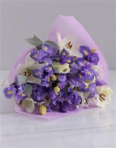 flowers: White Lilies & Iris Bouquet!