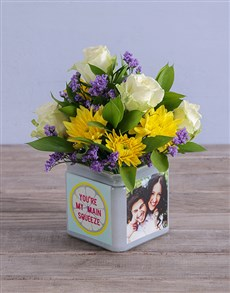 flowers: Personalised Mixed Flowers in Squeeze Photo Vase!