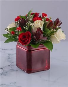 flowers: Vase of Red and Cream Roses!