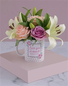 flowers: Personalised Love You Lilies and Roses Mug!