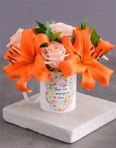 flowers: Personalised Personal Message Floral Mug!