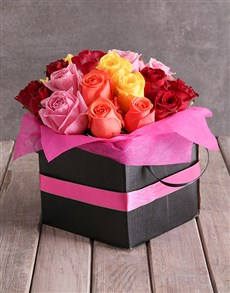 flowers: Mixed Roses In Pink Ribbon Box!