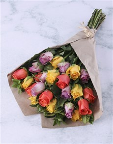flowers: Uplifting Mixed Roses In Craft Paper!