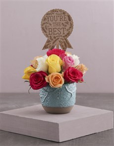 flowers: The Best Mixed Roses in a Turquoise Pot!