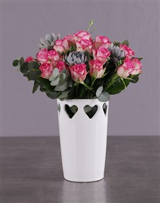 flowers: Pink Roses in a Love Vase!