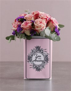 flowers: Pink Roses in a Unique Tin!