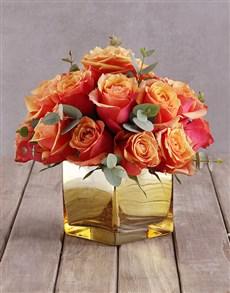 flowers: Cherry Brandy Roses In Gold Vase!