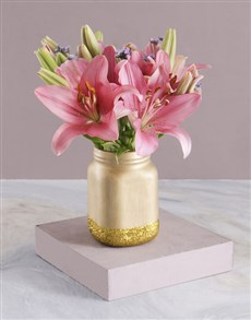 gifts: Asiflorum Lilies in Gold Consol Jar!