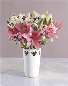flowers: Asiflorum Lilies in Heart Pattern Vase!