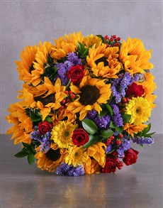 flowers: Romantic Sunflower and Rose Bouquet!