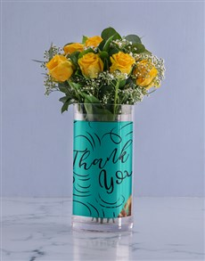 flowers: Personalised Yellow Roses in Thank You Photo Vase!