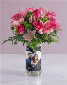 flowers: Personalised Pink Flowers in Like Crazy Photo Vase!