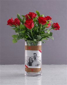 flowers: Personalised Red Roses in Forever Photo Vase!