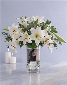 flowers: Personalised Saint Joseph Lilies in Vase!