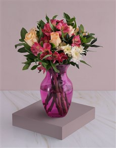 flowers: Roses And Peruvian Lilies In Pink Flair!