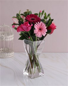 flowers: Pink Floral Mix in Twisted Vase!