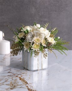 flowers: Radiant White Florals in Square Vase!