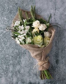 gifts: White Rose in Hessian Bouquet!
