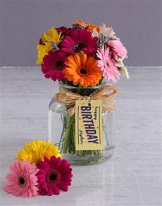 flowers: Personalised Happy Birthday Gerbera Arrangement!