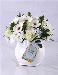 flowers: White Rose And Daisy Sympathy Pot!