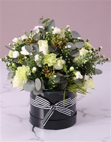 gifts: White Mixed Flower Hat Box!