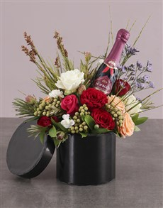 flowers: Champagne and Roses in Hatbox!
