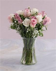 flowers: Pale Pastel Mixed Rose Arrangement!