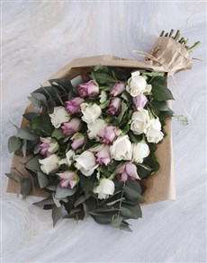 flowers: Lilac and Cream Rose Bouquet!