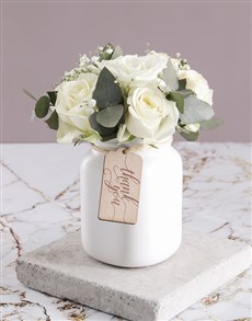 flowers: Thank You Consol Jar of White Roses!