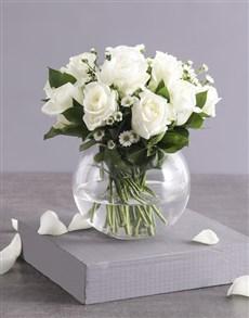 gifts: Celestial White Roses in Fish Bowl Vase!