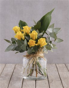 flowers: Yellow Rose and Greenery Arrangement!