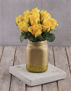 flowers: Yellow Roses in Gold Consol Jar!