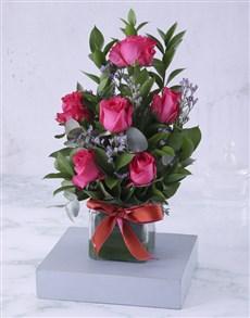 flowers: Artful Cerise Rose Arrangement!