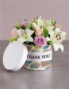 gifts: Thank You Floral Bunch in Hatbox!