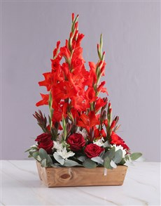flowers: Red and White Gladiolus Arrangement!