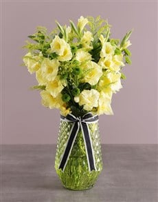 gifts: Yellow Gladiolus in Green Vase!